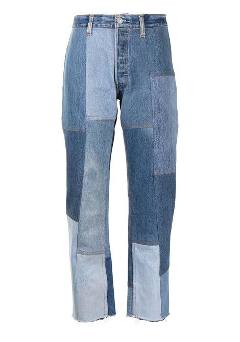 Jeans con design patchwork crop in blu - donna RE/DONE   1186PJINDG