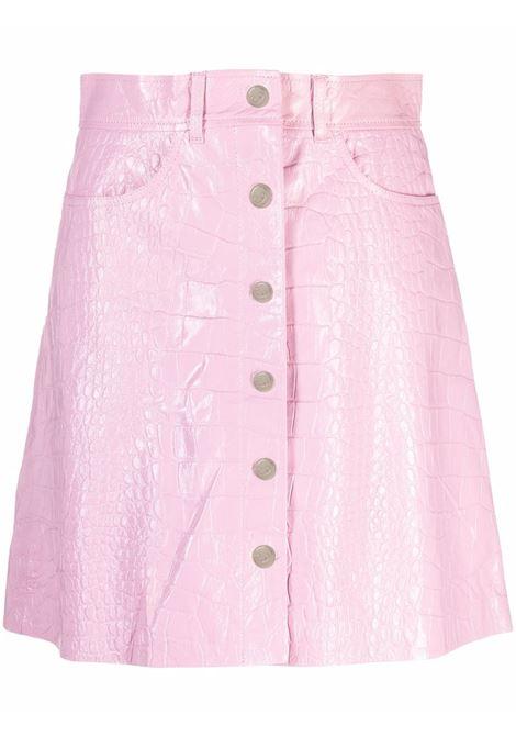 Gonna svasata con effetto coccodrillo in rosa - donna REMAIN | RM365143207