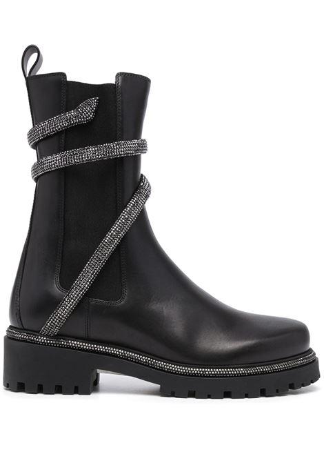 Snake-embellished leather ankle boots in jet black - women  RENE CAOVILLA   C110590250001V213