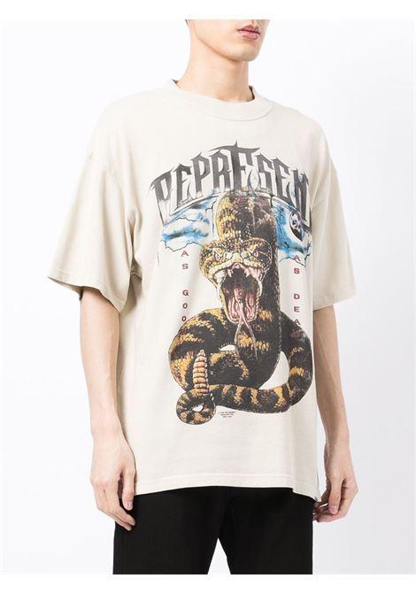 Logo-print T-shirt in beige - men  REPRESENT   M0514602