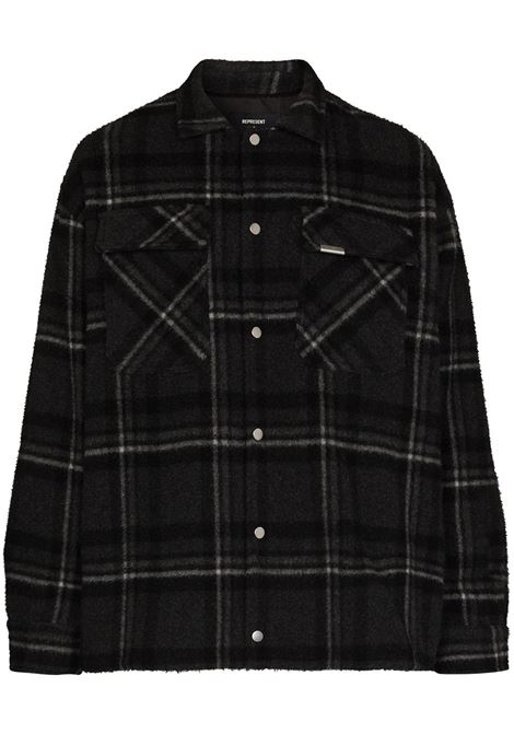 Checked buttoned overshirt in black and grey - men  REPRESENT   M0604505