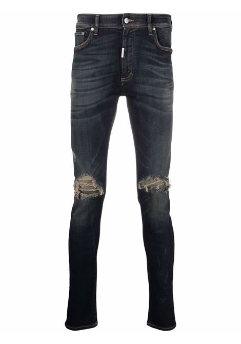 Distressed skinny-fit jeans in classic blue - men  REPRESENT | M0704424