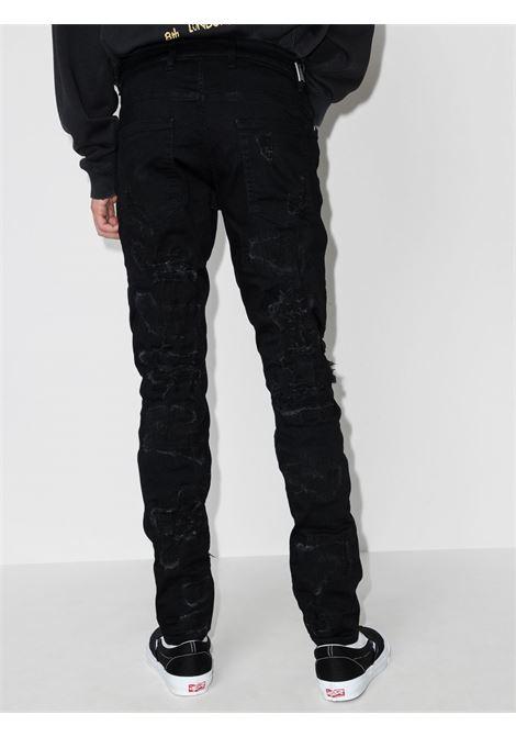 Ripped distressed skinny jeans in black - men  REPRESENT | M0704701