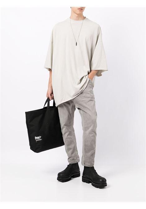 Drapped cotton T-shirt in oyster grey - men  RICK OWENS DRKSHDW   DU02A3259RN61
