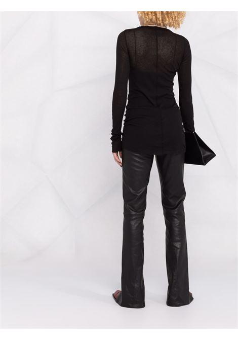 T-shirt a maniche lunghe in maglia fine in nero - donna RICK OWENS | RP02A7202MR09