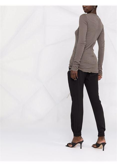 T-shirt a maniche lunghe in maglia fine in grigio - donna RICK OWENS | RP02A7202MR34