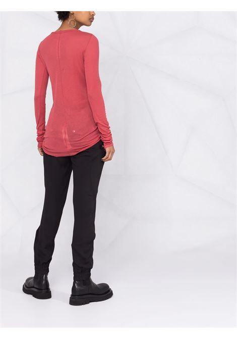 T-shirt a maniche lunghe in maglia fine in rosso - donna RICK OWENS | RP02A7202MR73