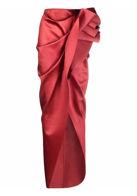 Ruched-detail fitted skirt in carnelian red - women  RICK OWENS | RP02A7337QLX73