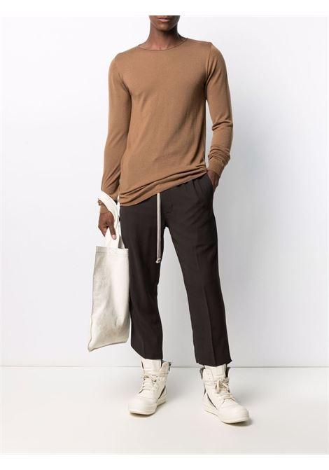 Maglione in maglia fine a girocollo marrone - uomo RICK OWENS | RU02A5620M24