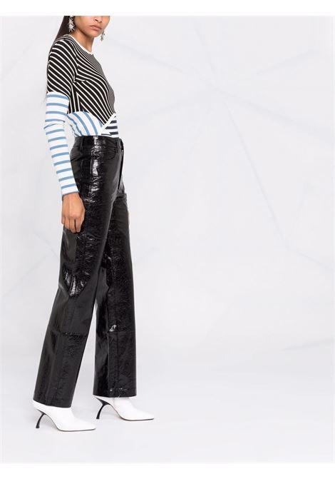 Pantaloni lucidi a gamba larga in nero - donna ROTATE | RT4111000