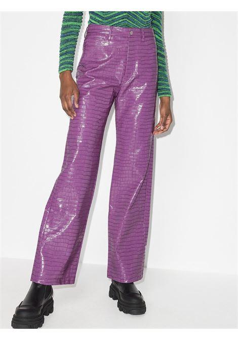 Pantaloni slim con effetto coccodrillo in viola - donna ROTATE | RT577183015