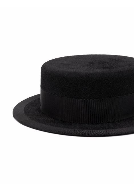 Cappello canotier con piercing in nero - donna RUSLAN BAGINSKIY | CNT033FPRSPRLCHARBBLK