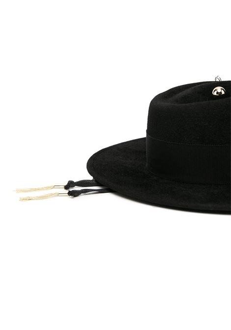 Cappello canotier con dettaglio a catena in nero - donna RUSLAN BAGINSKIY | GMB033FPRSBRBLK