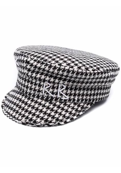 Cappello baker boy con motivo pied-de-poule in bianco e nero - donna RUSLAN BAGINSKIY | KPC026CAGLBLKWHT