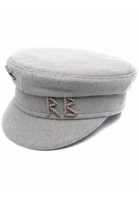 Cappello baker boy con logo in perline in grigio - donna RUSLAN BAGINSKIY | KPC031WPBSRGRY