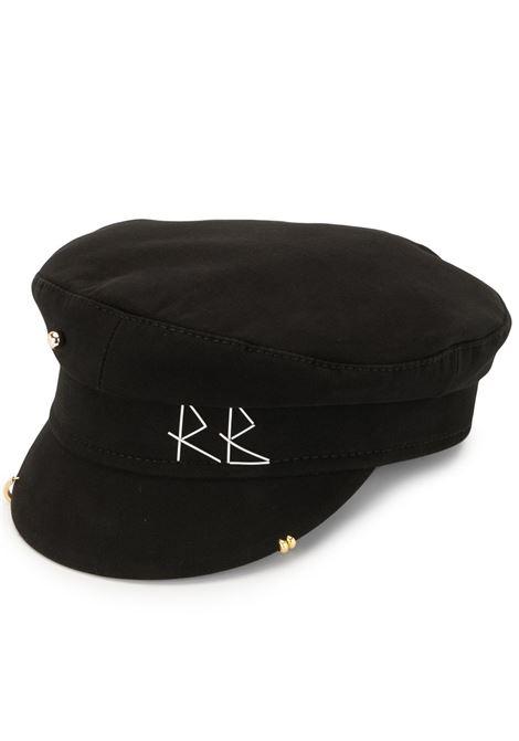 Cappello baker boy con ricamo in nero - donna RUSLAN BAGINSKIY | KPC033CPRSBLK