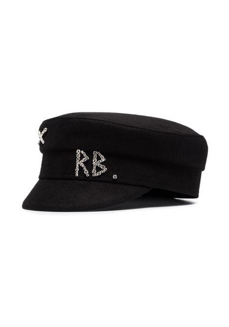 Cappello baker boy con ricamo in nero - donna RUSLAN BAGINSKIY | KPC033WDMDBLK