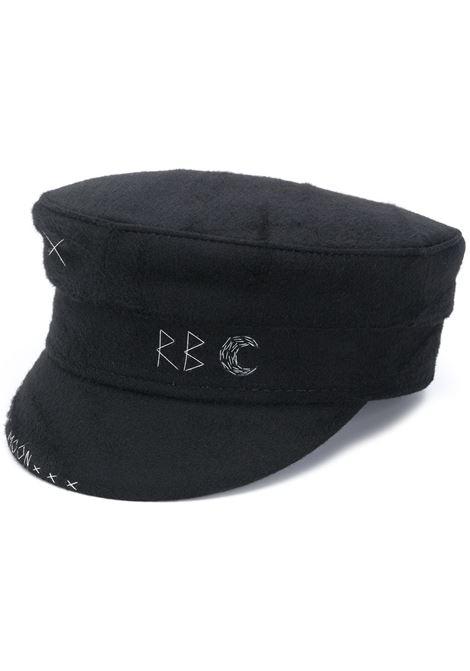 Cappello baker boy con ricamo in nero - donna RUSLAN BAGINSKIY | KPC033WMN1BLK