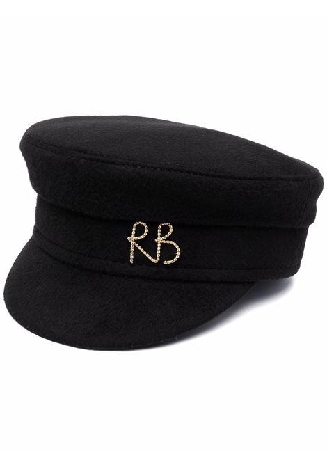 Cappello baker boy con logo in nero - donna RUSLAN BAGINSKIY | KPC033WMRBBLK