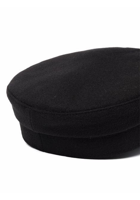 Cappello baker boy con ricamo in nero - donna RUSLAN BAGINSKIY | KPC033WPNSBLK