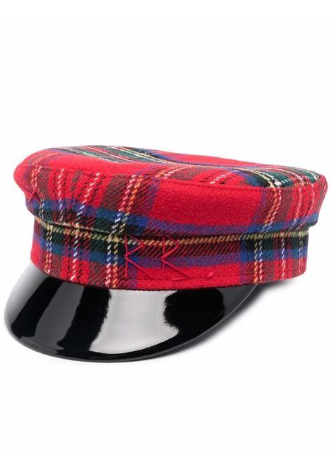 Cappello baker boy con motivo tartan in rosso - donna RUSLAN BAGINSKIY | KPC034WPPLDRD