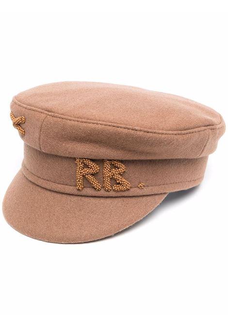 Cappello baker boy con logo in perline in marrone - donna RUSLAN BAGINSKIY | KPC037WPBSRBRWN