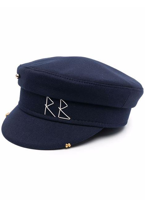 Cappello baker boy con ricamo in blu - donna RUSLAN BAGINSKIY | KPC078CAPRSNVYBL