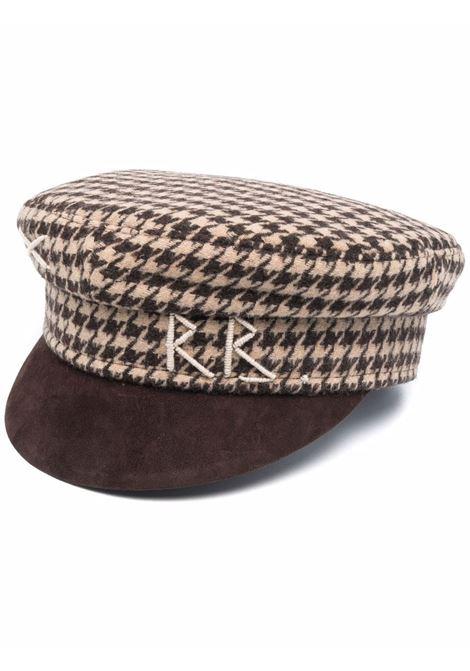 Cappello baker boy con motivo pied-de-poule in marrone - donna RUSLAN BAGINSKIY | KPC09609CASUGLBRWN