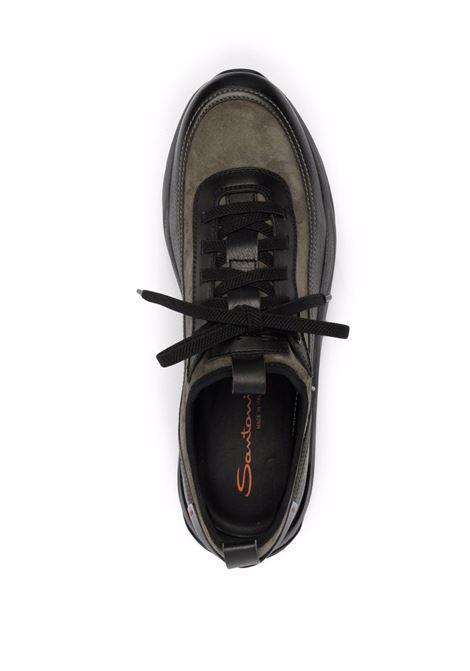 Sneakers con design a pannelli in verdekhaki e nero - uomo SANTONI | MBIO21534ANERLAWV49