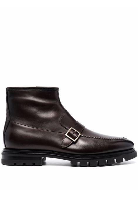 Buckle-detail leather ankle boots in chocolate brown - men  SANTONI   MCNC17290SM5ESKTT52