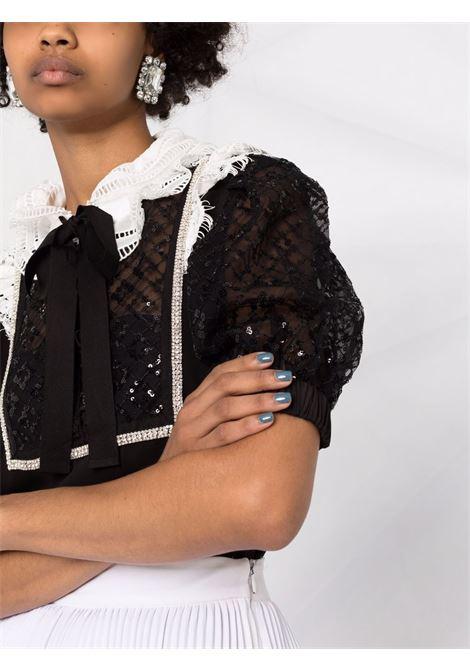Blusa con colletto arricciato in nero - donna SELF-PORTRAIT | AW21016TABLK