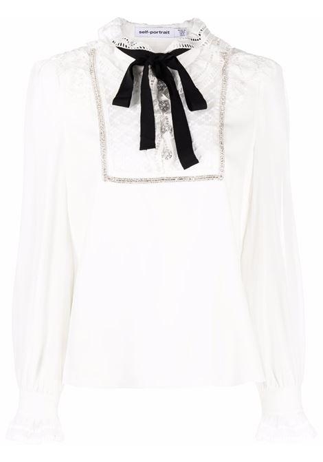 Blusa con ruches in bianco - donna SELF-PORTRAIT | AW21016TWHT