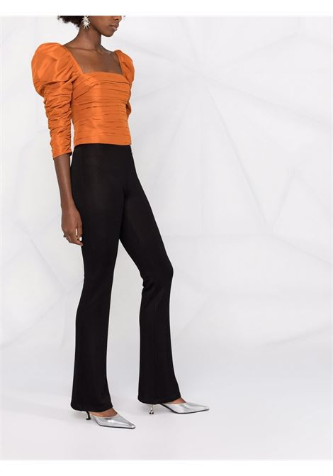 Ruched-detail puff-sleeve top in orange - women  SELF-PORTRAIT   AW21022TCNNMAN