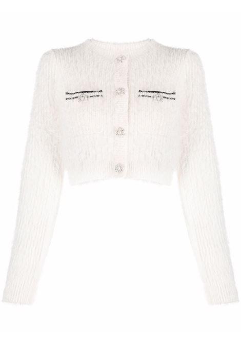 Cardigan crop con design soffice in bianco - donna SELF-PORTRAIT | AW21070WWHT