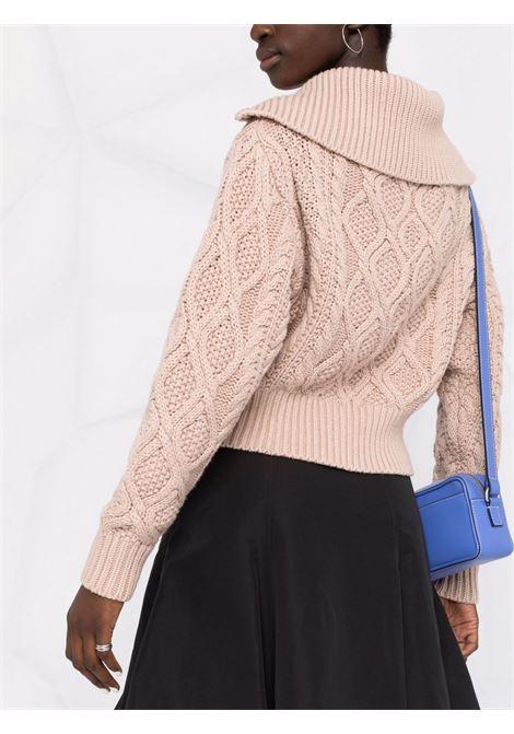 Cardigan con zip in maglia intrecciata color tortora - donna SELF-PORTRAIT | AW21076TP