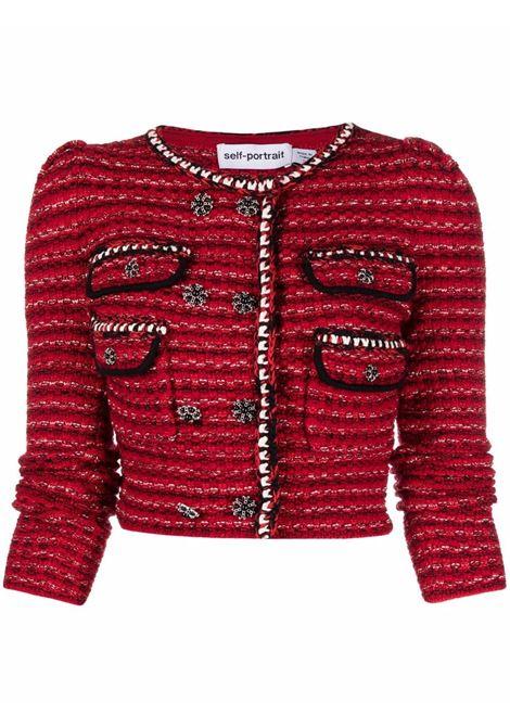 Cardigan doppiopetto con effetto mélange in rosso -donna SELF-PORTRAIT | AW21105CRDMLNG