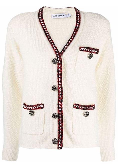 Cardigan con decorazione in bianco - donna SELF-PORTRAIT | AW21108AIVRY
