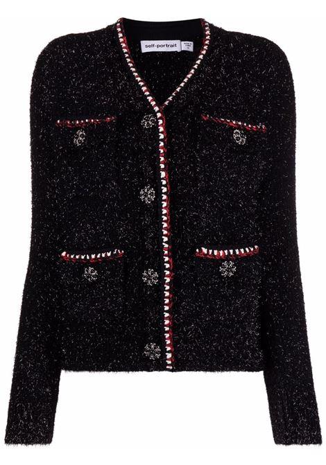 Cardigan con decorazione in nero - donna SELF-PORTRAIT | AW21108BBLK