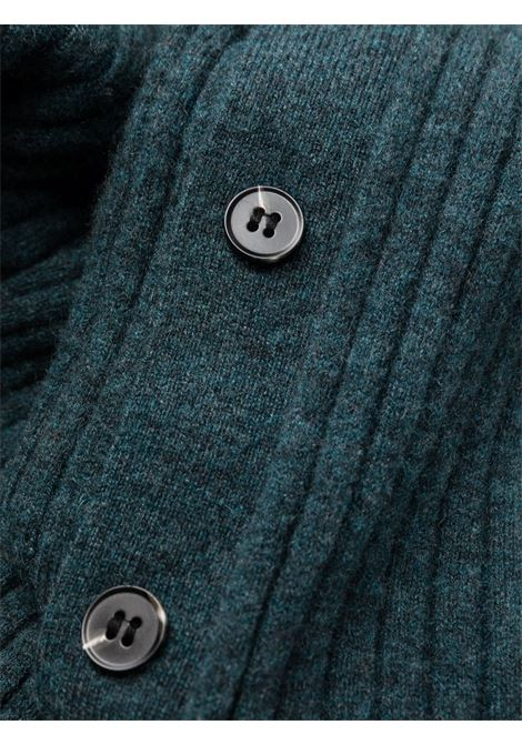 Ribbed-knit polo dress in dark green - women  SELF-PORTRAIT   AW21119ABL
