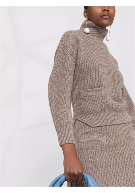 Maglione a collo alto color tortora - donna SELF-PORTRAIT | AW21137TP