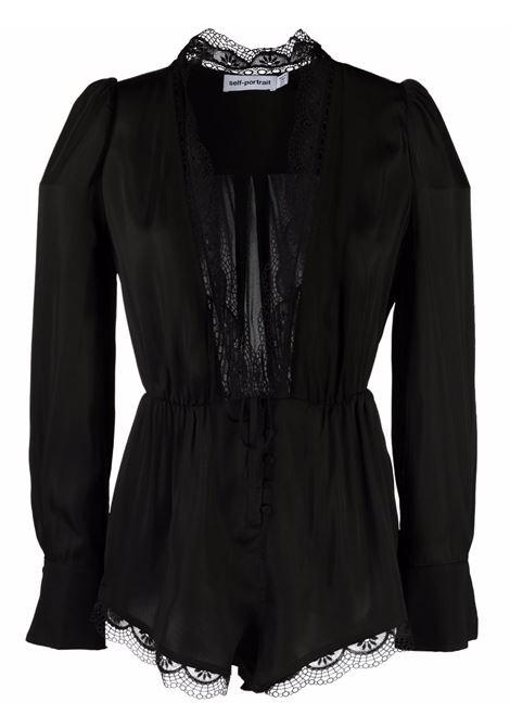 Tuta con bordo di pizzo in nero - donna SELF-PORTRAIT | AW21149BLK
