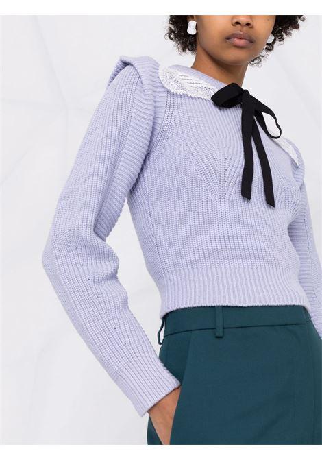 Lace-collar knitted jumper lilac - women SELF-PORTRAIT   PF21001ALLC