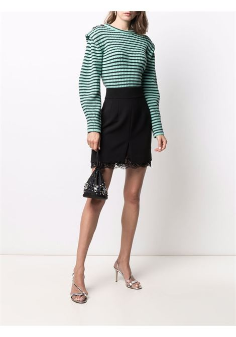 Green and black striped knitted jumper - women SELF-PORTRAIT   PF21001ESG