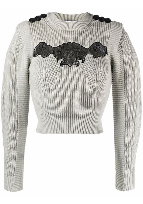 Lace-detailed cropped jumper mint - women  SELF-PORTRAIT | Sweaters | PF21001MNT