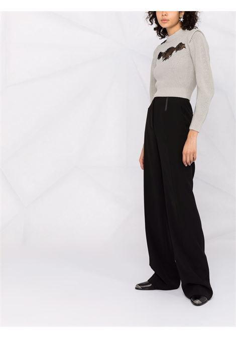 Lace-detailed cropped jumper mint - women  SELF-PORTRAIT   PF21001MNT