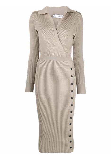 Ribbed-knit buttoned dress mushroom brown - women SELF-PORTRAIT | Dresses | PF21009MSHRM