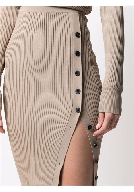 Ribbed-knit buttoned dress mushroom brown - women SELF-PORTRAIT   PF21009MSHRM