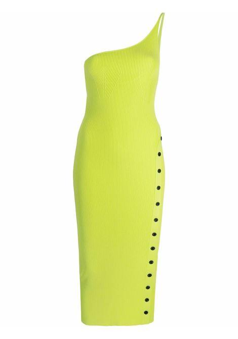 Ribbed one shoulder knit dress in lime - women SELF-PORTRAIT | Dresses | PF21013NNLM