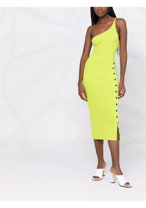 Ribbed one shoulder knit dress in lime - women SELF-PORTRAIT   PF21013NNLM