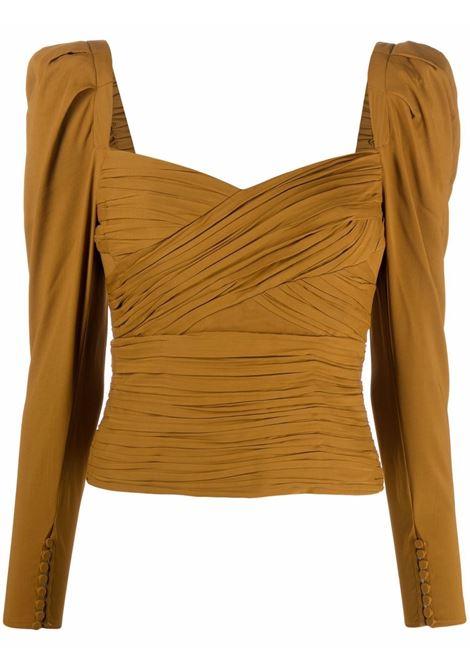 Draped top with sweatheart neckline ocher -women  SELF-PORTRAIT | Top | PF21031TTPND